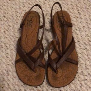 ⭐️5/$25 BOC born concept strappy brown wedges